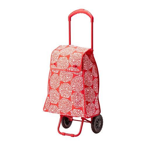 IKEA KNALLA–Einkaufstasche auf Rädern, Rot, Weiß–33cm