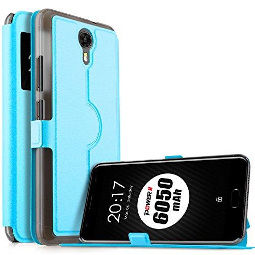 Ulefone Power 2 Hülle, KuGi Ulefone Power 2 Premium PU Leder Kasten für Ulefone Power 2 Smartphone (Blau)