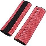 2 piezas Auto Gancho Lazada Seguridad Cinturón De Seguridad Funda Hombreras Rojo Negro