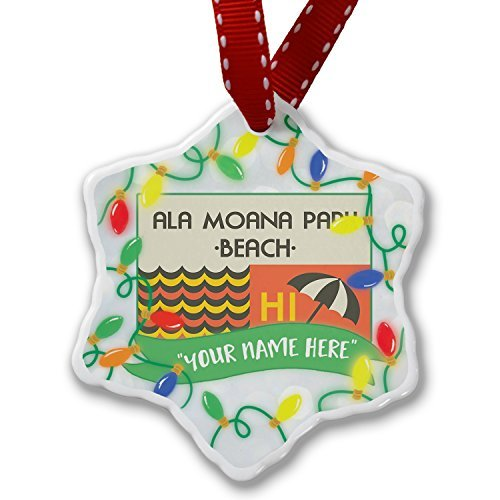 Christmas Gifts Personalisierte Namen Weihnachten Ornament uns Strände Retro Ala Moana Park Beach Xmas Decor Ornament Home Dekorationen Aufhängen Crafts