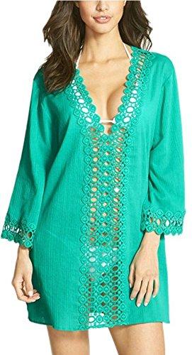 f97f39125d Summer Mae Women's Floral Lace Beach Bikini Swimwear Cover-up Green