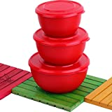 Vagmi Micro Stainless Steel Plastic Coated Bowl Set (Red, Pack Of 3)