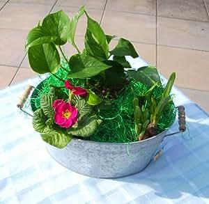Blumenkübel/ Blumentopf aus Zink mit 2 Holzgriffen