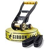 Gibbon Slacklines Classic Line, Gelb, 15 Meter, 12,5m Band + 2,5m Ratschenband, für Anfänger, Beginner und Einsteiger, inklusive Ratschenschutz und Ratschenrücksicherung, 50 mm breit, perfekter Freizeitsport