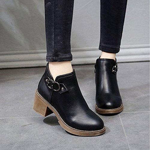 HSXZ Scarpe donna pu inverno Comfort stivali Null tacco basso punta tonda Mid-Calf Stivali / per esterni di kaki nero Black