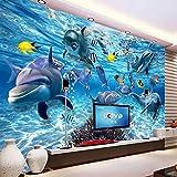 Wandgemälde Benutzerdefinierte 3D Fototapete Unterwasserwelt Delphin Fisch Kinderzimmer Schlafzimmer Wohnzimmer Tv Dekoration Wandbild Tapete,280Cm(H)×460Cm(W)