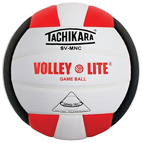 ley-Lite volleyball with Sensi-Tech cover, regulation size but lighter (scarlet/white/black) by Tachikara ()