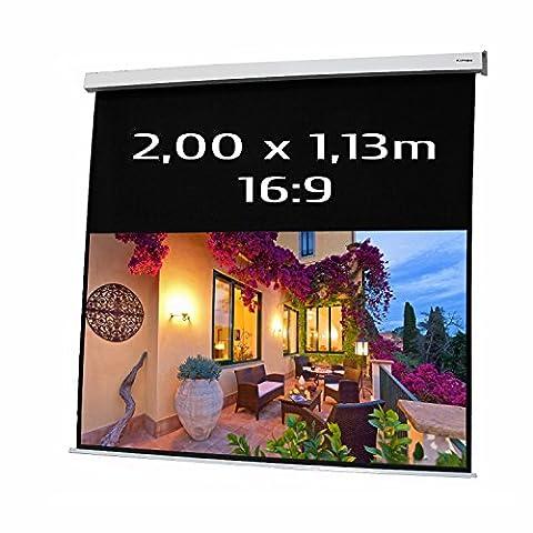 KIMEX 042-3413 Ecran de projection électrique 2,00 x 1,13m, format 16/9, carter blanc