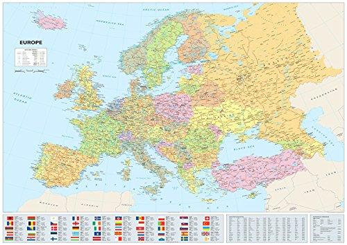Mapa Europa banderas – Papel laminado – 96 x 118,9