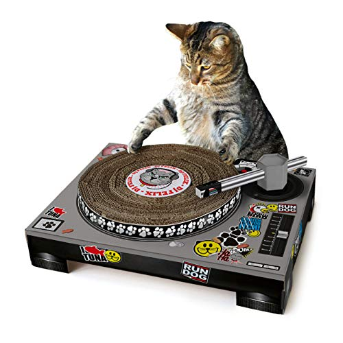 Suck UK Cat Scratch SK - Rascador de cartón para gatos, diseño tocadiscos