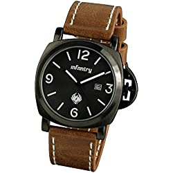 INFANTRY® Mens Date Analogue Display Wrist Watch Black Dial Casual Brown Leather Strap