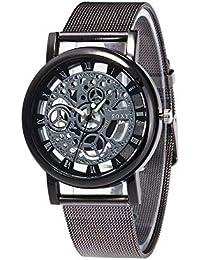 Relojes Hombre con Patrón de Engranaje Retro Calado, Escala de Números Romanos Correa de Malla