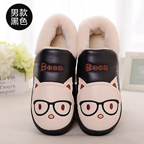 DogHaccd pantofole,Inverno piscina incantevole cartoon maschio e femmina paio di pantofole di cotone confezione con un caldo soggiorno di casa con una spessa pantofole in lana Maschio nero1