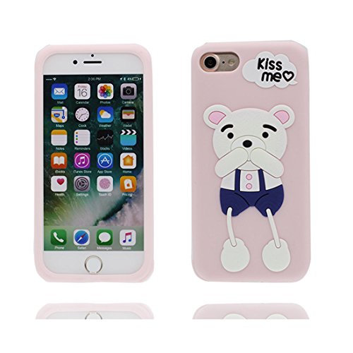 Custodia iPhone 7 Plus , iPhone 7 Plus copertura (5.5 pollici)   Gel durevole TPU morbido protettivo Case posteriore Stars Polvere anti shock   3D Cartoon orso bear Rosa 1