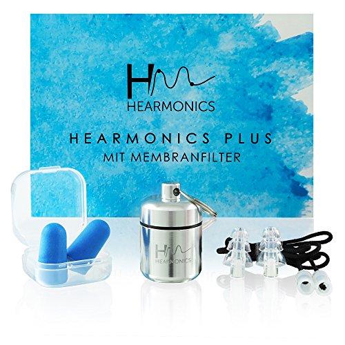 Hearmonics Gehörschutzstöpsel Set- Effektive Reduktion des Lärmpegels - Ideale Ohrstöpsel für Konzert, Festival, Musik, Arbeit - Gehörschutz Schlafen
