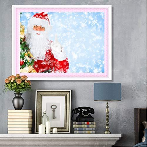 Jkhhi 5d DIY Malerei Weihnachtsmann Weihnachten Muster Diamant Stickerei Diamond Gemälde Painting Strass Eingefügt Kunst Vorbedruckte Sets Kreuzstich -