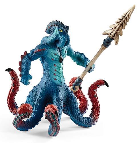 Schleich- Figura Pulpo monstruoso con arma, Color azul, 18 cm