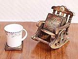 Western Festivity Última colección de Madera Antigua Hermosa Miniatura de la Silla de oscilación Diseño Café Té Coaster Set