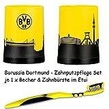 Borussia Dortmund Zahnpflege Set je 1x Zahnbürste & Zahnputzbecher BVB 09
