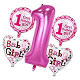 MagiDeal 5pcs / Set Zahlenballon mit Zahl 1 Riesenzahl Luftballon Folienballon Baby 1. Geburtstag Party Deko - Mädchen Rosa