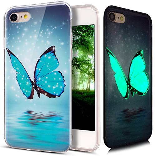 Kompatibel mit iPhone 8 Hülle,iPhone 7 Hülle,ikasus Bunte Gemalt Muster [Leuchtend Luminous] Handyhülle TPU Silikon Hülle Handy Hülle Case Tasche Schutzhülle für iPhone 8/7 Hülle,Blau Schmetterling