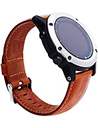 27mm de la pulsera pulsera de piel, happytop correa de muñeca relojes de repuesto para Garmin Fenix 3/HR, hombre, marrón, S