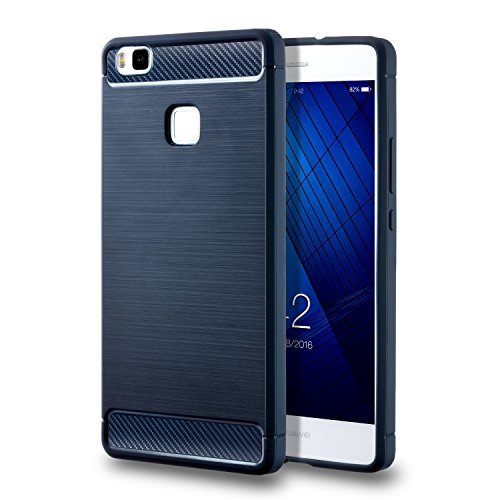 Coque Huawei P9 Lite , Huawei P9 Lite case [Rugged Armor] Resilient Silicone [Noir] Ultimate protection de drops and impacts Housse Etui Coque Pour Huawei P9 Lite (2016) inch Bleu
