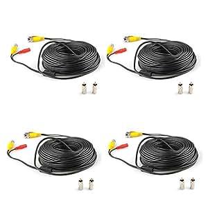 SUNLUXY® 4 X 30m 100ft Sicherheit Video/Stromkabel BNC + RCA Stecker Kombikabel für CCTV Kamera Schwarz