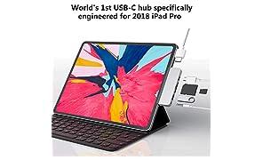 HyperDrive USB C Hub 6-in-1 mit Type-C,USB 3.1,HDMI,SD/MicroSD Slot,Audio Jack,Speziell für das Neue iPad Pro 2018,Space Grau
