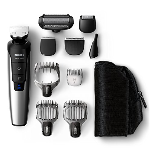Philips QG3398/15 Multigroom-Set für Gesicht, Haare und Körper, 10 Aufsätze, schwarz/metall (Metall-haarschneider)