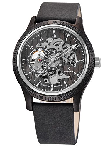 Alienwork Herren Damen mechanische Automatik-Uhr schwarz mit Lederarmband grau Holzuhr