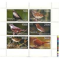 Francobolli uccelli per collezionisti - 6 Francobolli con diversi valori su una mint never hinged foglio di souvenir / Turkmenistan - Francobolli Uccelli