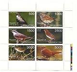 Francobolli uccelli per collezionisti - 6 Francobolli con diversi valori su una mint never hinged foglio di souvenir / Turkmenistan - Stampbank - amazon.it