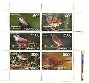 timbres d'oiseaux pour les collectionneurs - 6 Timbres avec différentes valeurs sur un neuf sans charnière bloc-feuillet / Turkménistan