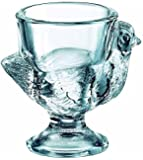 BHL Glass Hen Egg Cup Clear, Set of 3