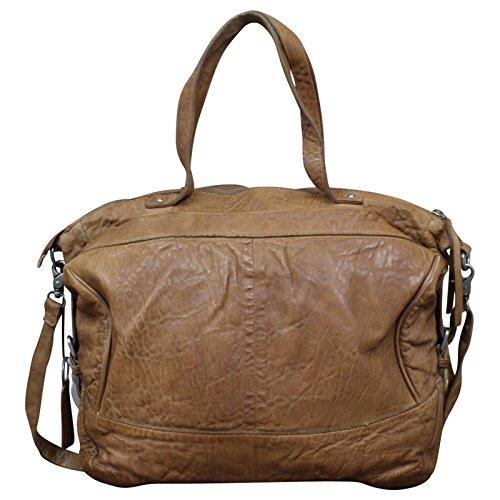 Taschendieb Wien echt Leder Vintage Shopper Schulter Tasche Leder Vintage NEW, Farbe:Cognac Cognac