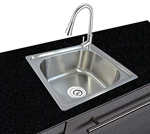 Lavello da cucina in acciaio inox 304, rettangolare, da incasso, piccolo scarico 46 cm L 4 cm B