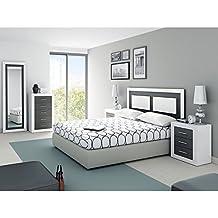 Amuebla Dormitorio DE Matrimonio Color Soul Blanco PORO Mate Combinado con Grafito Mate