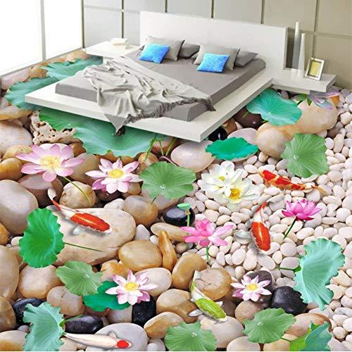 Xbwy Chinesischen Stil Pebble Lotus Carp 3D Landschaft Bodenbelag Fliesen Wandbild Tapete Badezimmer Schlafzimmer Pvc Wasserdichte Vinyl Boden Aufkleber-350X250Cm - Bambus-bodenbelag Fliesen