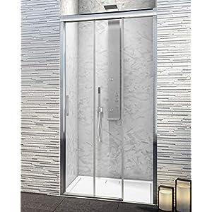 Mampara de Ducha Frontal – 3 Hojas Correderas – Cristal de Seguridad de 6 mm con ANTICAL INCLUIDO – Modelo PORTLAND