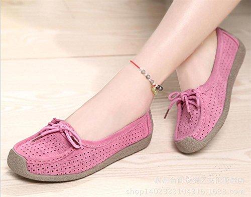 ... LDMB Frauen flache Ferse Erbsen niedrig zu helfen, Schuhe wirklich  Rindsleder Loch Schuhe Pink ...