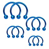 BodyJ4You Piercing Ring Horseshoe Circular Barbell Blue Stainless - Best Reviews Guide