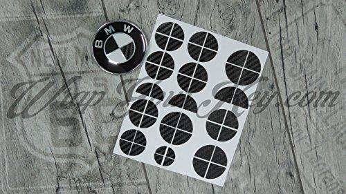In fibra di carbonio nero lucido BMW badge Emblem Overlay sticker Hood tronco cerchioni @ Fits all BMW @