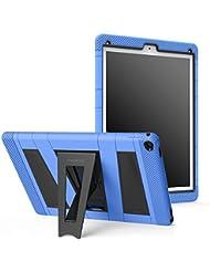 MoKo [Pata de cabra][A Prueba de Lluvia] Durable Hibrida Silicona+Negro Duro Policarbonato [Shock-Absorción] con Soporte Plegable Protector Funda para Apple iPad Pro 12.9 inches iOS 9 2015 Tablet, Azul