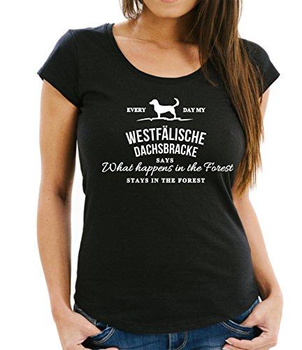 Siviwonder Vintage What Happen Logo WESTFÄLISCHE Dachsbracke Hund Hunde Dachs - Women Girlie T-Shirt Black L -38 -