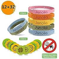 Janolia Mosquito Repellent Set, 12 Pcs Mosquito Repellent Bracelets & 32 Pcs mosquito Patches, Insect Repellent Bands and Mosquito Repellent Sticker Set for Indoor, Outdoor, Kids, Adults