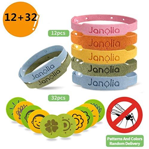 Janolia Repelentes de Mosquitos, 12 Pulseras Antimosquitos & 32 Pegatinas Antimosquitos, Set de Repelentes de Insectos, Ajustables para los Niños y Adultos