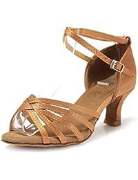 Mujer Zapatos Tacon - Generico 1 par Mujer Zapatos Tacon De Salsa Bachata Latinos Baile Sandalias Latin Shoe, Beige 38