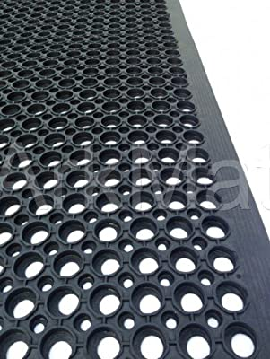 2 X Rubber Workplace Anti Fatigue/ Factory/Kitchen/ Bar Flooring Mat 3ft x 5ft x 12mm