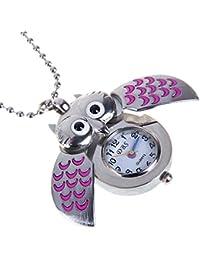 SuntekStore Online - Lindo mini búho collar reloj de bolsillo - plata y rosa